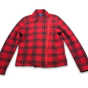 Chaps Plaid Check Moto Zip Sweater Size L Red